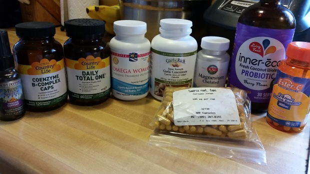 The daily vitamins I take + extra to help with immunity.